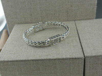Sterling Silver Dragon Weave Bracelet White Sapphires by Keith Jack Celtic Clasp