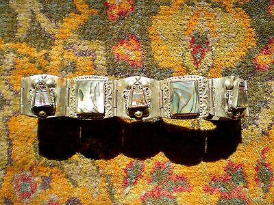 Mexican Taxco Sterling Silver Bracelet Abalone Inlay