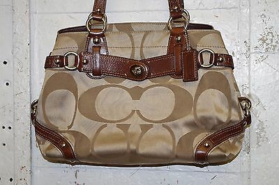 Coach Signature Logo Khaki Nylon & Brown Leather Satchel Tote Bag