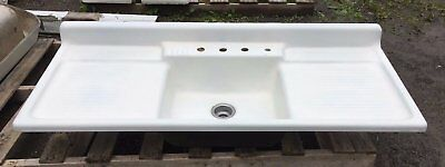 Vtg Cast Iron Porcelain Double Drainboard Single Basin Kitchen Sink 431-17E