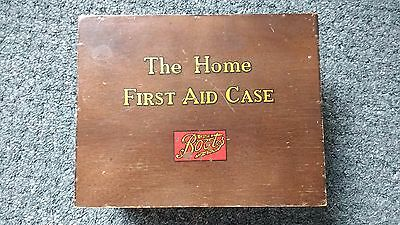 Vintage    WOODEN FIRST AID BOX  -  Boots The Home First Aid Case with contents