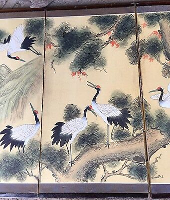 Vintage Japanese Oriental Asian 4 Panel Folding Screen Decorated ~ Cranes Birds