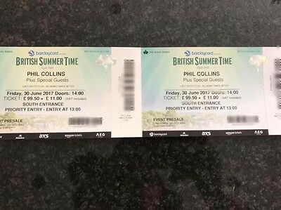 4X Phil Collins British summertime Tickets.30th June Hyde Park PRIORITY ENTRANCE