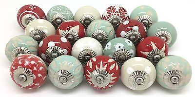 20 Ceramic Door Knobs SECONDS Green Red Cream For Cupboards & Drawers J41