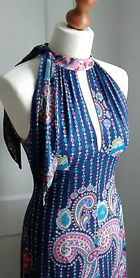Vintage 70s Concord Navy Paisley Pattern Maxi Dress Size 8/10