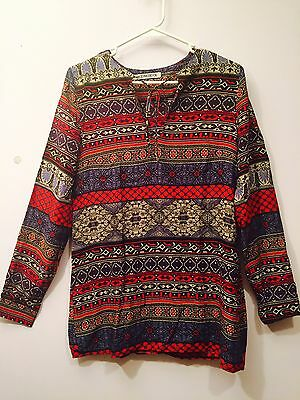 NEW Women Tunic Casual Long Sleeve Boho Print Red Blue Top Blouse