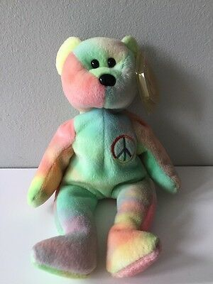 The Beanie Babies Collection Rare Peace Bear 1996 PE Pellets Stamped