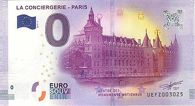 Billet 0 Euro Souvenir - Paris La Conciergerie 2017 - Centre Monuments Nationaux