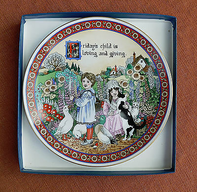 """Royal Worcester  """"Friday's Child""""  Days of the Week Plate"""