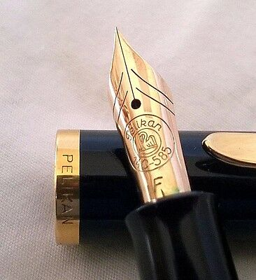 14c 585 F Gold Nib Green Black Striped Pelikan Fountain Pen Germany 1952-1965