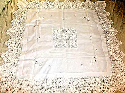 """White Linen/Cotton Blend Tablecloth - 36"""" Square With 8"""" Crocheted Edging (52"""")"""