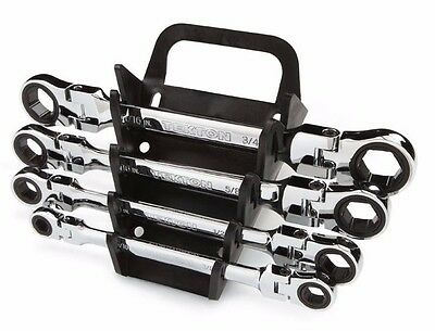 Flex-Head Ratcheting Box End Wrench Set with Store and Go Keeper Standard / Inch