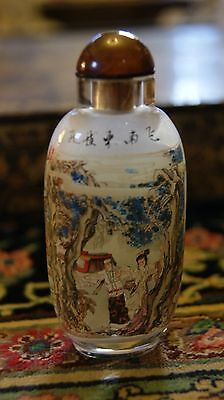 Signed Reverse Painted Chinese Snuff Bottle Figures One