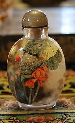 Signed Reverse Painted Chinese Snuff Bottle Lotus