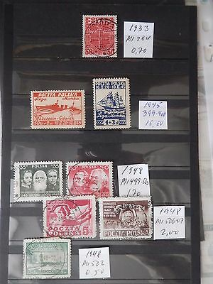 Poland 1933-48 - 8 old stamps, used/unused MNH, 3 photos