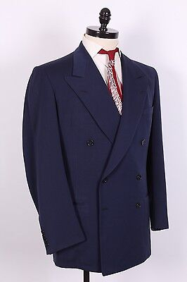 Vtg 40S Rockabilly Gabardine Wool Double Breasted Suit Mens Size 44