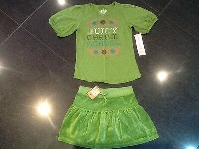NWT Juicy Couture & Gen. Ragazze 8 anni Verde Velluto Gonna & T-Shirt Con Logo