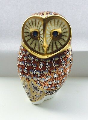 Royal Crown Derby Paperweight Barn Owl gold stopper quality.