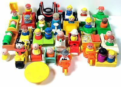 Vintage Fisher Price Little People Large Lot Of 28 Figures W/ Vehicles