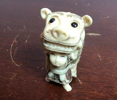 Asian Mini Netsuke Style Man with Dragon Costume Color Plastic, Painted