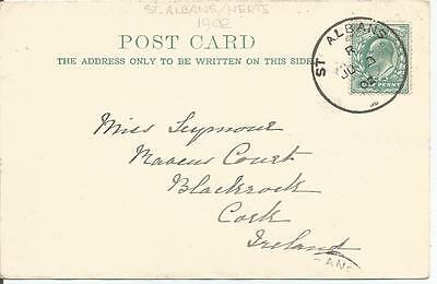 ST ALBANS 1902   SKELETON POSTMARK ON KING EDWARD VII ½d GREEN POSTCARD  799