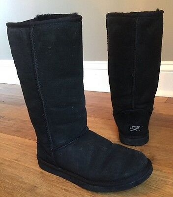 UGG Australia Womens Classic Tall Sheepskin Suede Boots Black Style 5815 Sz 6