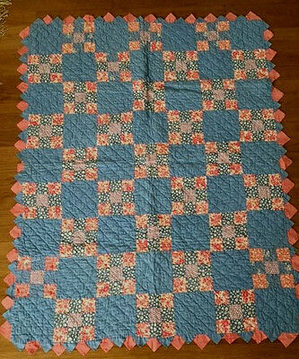 Gorgeous Antique 1930's Hand Made Patchwork Baby Crib Quilt Triangle Border