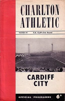 CHARLTON v CARDIFF 1962/63 FA CUP 3RD ROUND
