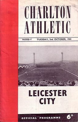 CHARLTON v LEICESTER 1962/63 LEAGUE CUP 2ND ROUND REPLAY