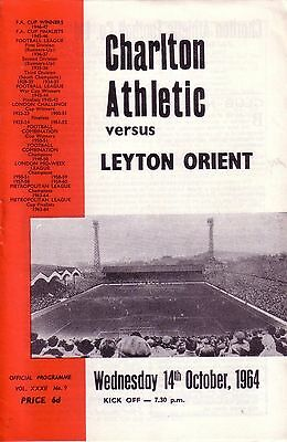 CHARLTON v LEYTON ORIENT 1964/65 LEAGUE CUP