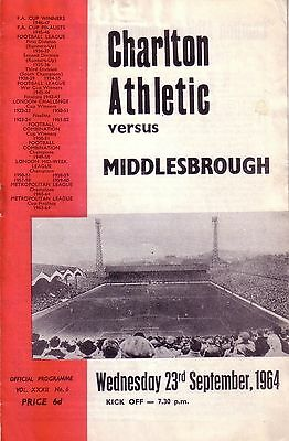 CHARLTON v MIDDLESBROUGH 1964/65 LEAGUE CUP