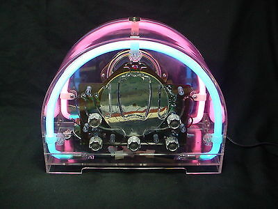 Vintage Neon Radio Prosonic Space Sounds Neon See Through Radio Am/fm Works Well