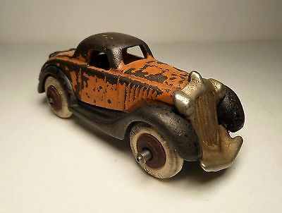 Vintage Hubley Orange Cast Iron Terraplane Coupe w/ Separate Nickle Grill