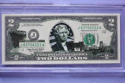 Us Colorized $2 Bank Note North Dakota Statehood Uncirculated Bill In Case