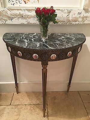 Rococo Style Vintage Console Demi-Lune Marble Effect Table