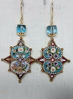 Micro Mosaic with London Blue Topaz Earrings, 14K Gold Filled Grand Tour