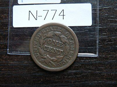 VINTAGE USA LARGE CENT 1846   Braided Hair SMALL DATE    VALUE 40.00   N774