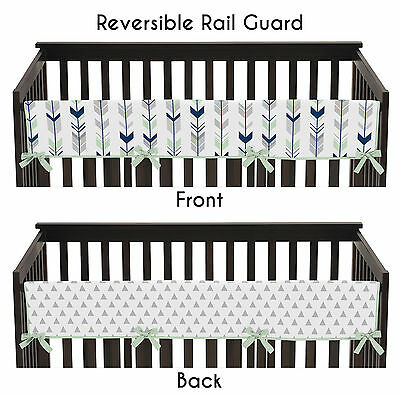 Navy Grey & Mint Arrow Long Front Rail Guard Baby Teething Cover Crib Protector