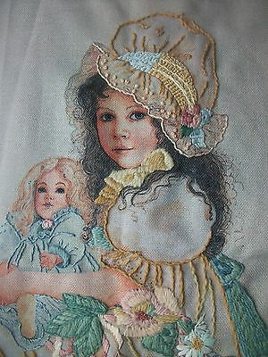 "Unfinished Crewel Embroidery Bonnet Girl W Doll 15"" x 18"" Started No Yarn NP02"