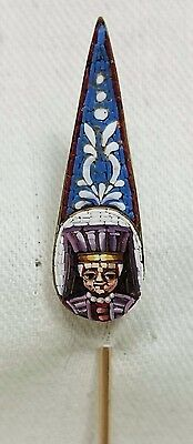 Antique Micro Mosaic Brooch Hat / Lapel Pin Grand Tour Souvenir Jewelry, Italy