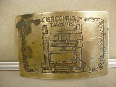 Vintage Advertising Belt Buckle Bacchus Wine Tastevin Ampersand Brass Kalamazoo!