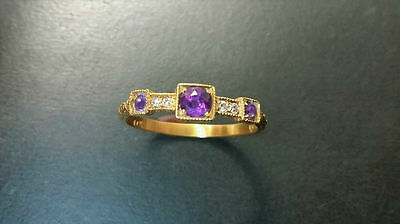 Beautiful Antique style 14k gold ring with genuine Amethyst and diamonds