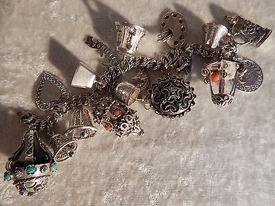 Etruscan, Bell, Stein Sterling Silver Watch Fob Charm Bracelet Antique Vintage