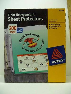 200 Pack Avery Clear Heavyweight Sheet Protectors #76003 Acid Free