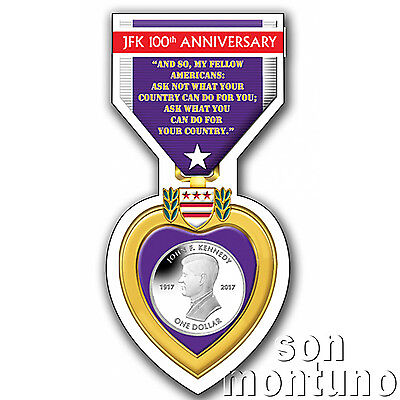 JOHN F KENNEDY Centenary of Birth Coin 2017 British Virgin Islands PURPLE HEART