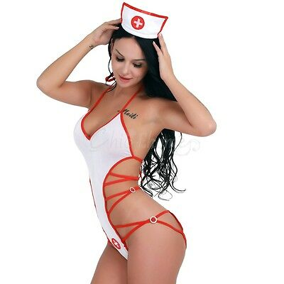 Sexy-Women Lingerie Fancy Dress Nurse Costume Outfit Halloween Cosplay Party
