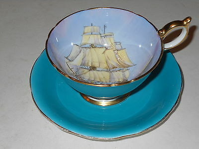 Vintage Large Aynsley Handpainted Ship Cup & Saucer Signed D.jones Made 1930's
