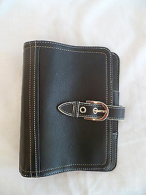 "Franklin Covey Marbella black full grain leather pocket size planner 7"" x 5.5"""