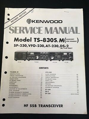 Kenwood TS830S/M, SP230, VFO230 Service Manual. Clean! Free Shipping! L@@K!