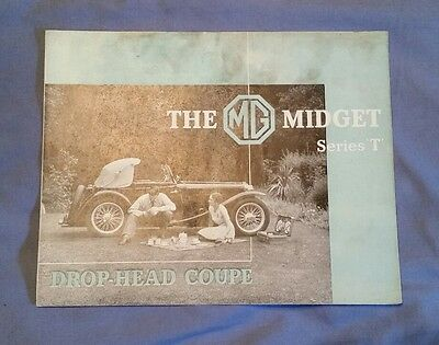 Rare Vintage 1938 MG MIDGET SERIES T BROCHURE DROP-HEAD COUPE Printed In England